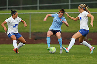 Piscataway, NJ, May 13, 2016. Sky Blue defender Erin Simon (33) back heels the ball to avoid Boston Breakers Kyah Simon (17) and Kristie Mewis (19). Sky Blue FC defeated the Boston Breakers, 1-0, in a National Women's Soccer League (NWSL) match at Yurcak Field.