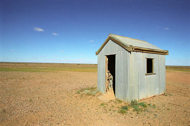 Small shed in paddocks near Marree, South Australia.