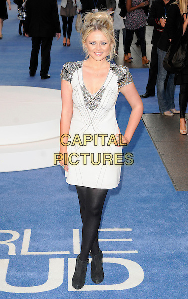 "EMILY ATACK .At ""The Life And Death Of Charlie St. Cloud"" UK film premiere, Empire cinema, Leicester Square, London, England, UK, 16th September 2010..full length black white black tights silver beaded hand on hip dress ankle boots shoulders epaulettes.CAP/CAN.©Can Nguyen/Capital Pictures."
