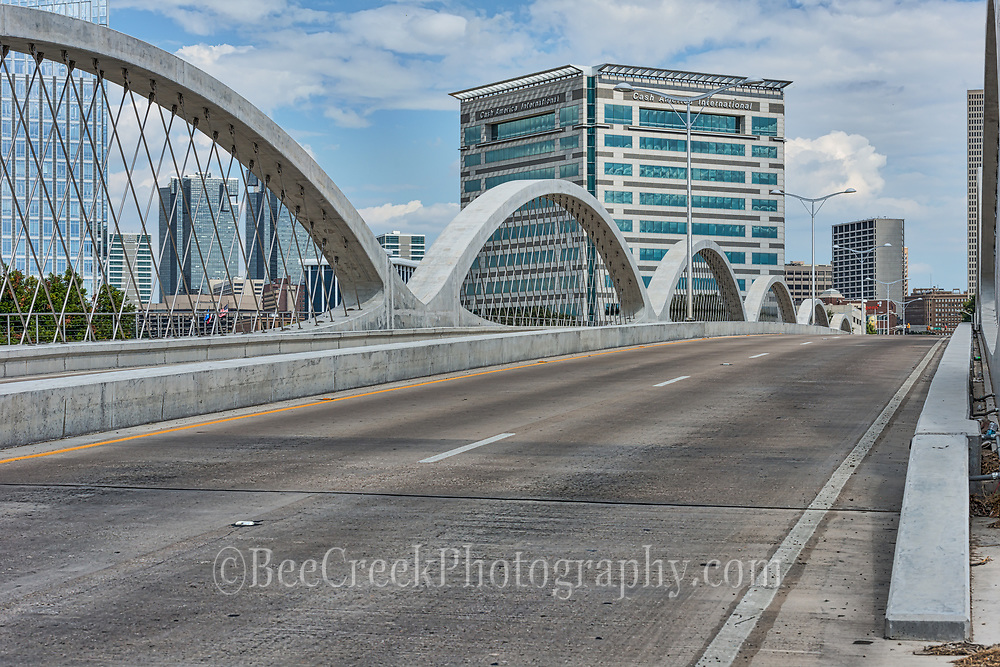 This is a cityscape of the 7th street bridge as it flows into the downtown Fort Worth.