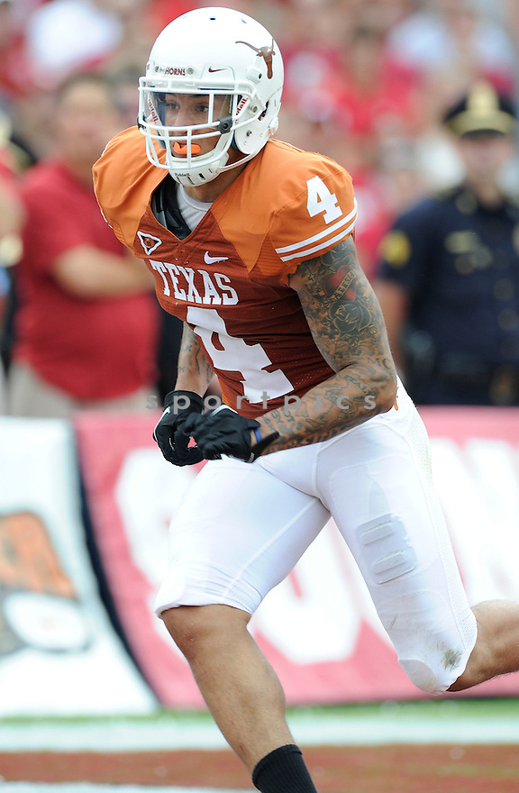Texas Longhorns Kenny Vaccaro (4) in action during a game against Oklahoma at Gaylord Family Oklahoma Memorial Stadium on October 8, 2011 in Norman, OK. Oklahoma beat Texas 55-17.