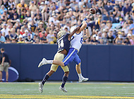 Annapolis, MD - October 7, 2017: Navy Midshipmen cornerback Elijah Merchant (14) defends a pass during the game between Air Force and Navy at  Navy-Marine Corps Memorial Stadium in Annapolis, MD.   (Photo by Elliott Brown/Media Images International)