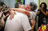 SAO PAULO, SP, 18 DE SETEMBRO 2012 - PRIMEIRO CASAMENTO GAY DE SAO SAO PAULO - Primeira cerimonia gay da cidade de Sao Paulo com os noivos Mário Grego e Gledson Perrone na manha desse sabado no cartorio de Itaquera regiao leste da capital paulista. O pedido de casamento, protocolado há menos de um mês foi aceito pelo cartório de Itaquera com base em um acórdão publicado no dia 6 de julho de 2012 no Diário da Justiça, que autoriza o casamento civil de pessoas do mesmo sexo na Cidade de São Paulo. FOTO WILLIAM VOLCOV - BRAZIL PHOTO PRESS.