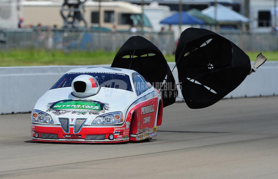 May 21, 2011; Topeka, KS, USA: NHRA pro stock driver Mike Edwards during qualifying for the Summer Nationals at Heartland Park Topeka. Mandatory Credit: Mark J. Rebilas-