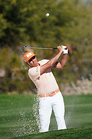 Rickie Fowler plays from the fairway bunker on the 2nd hole during the final round of the Waste Management Phoenix Open, TPC Scottsdale, Phoenix, Arizona, USA. 01/02/2020<br /> Picture: Golffile | Phil INGLIS<br /> <br /> <br /> All photo usage must carry mandatory copyright credit (© Golffile | Phil Inglis)