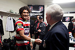 Pepa Koloamatangi shakes hands with Counties Manukau President Henry Wilcox as he returns to the changing room. ITM Cup Round 1 game between the Counties Manukau Steelers and Otago, played at Bayer Growers Stadium, Pukekohe, on Saturday July 31st 2010. Counties Manukau Steelers won 29 - 13 after leading 22 - 6 at halftime.