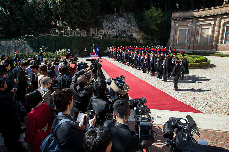 """Press...<br /> <br /> Rome, 23/03/2019. The President of the People's Republic of China (General Secretary of the Communist Party of China, and Chairman of the Central Military Commission), Xi Jinping, meets the Italian Prime Minister Giuseppe Conte at Villa Madama during the second day of a three-day State visit to Italy. After the arrival of Xi Jinping greeted with the full honors at the splendid Renaissance Villa designed by Raffaello Sanzio, the Chinese delegation and the Italian delegation led by the Luigi Di Maio (Deputy Prime Minister, Minister of Economic development, Labour and Social Policies, and leader of the Five Star Movement) signed a memorandum of understanding - 29 separate protocols - supporting the """"Belt and Road"""" initiative (part of the """"New Silk Road Project"""") as the first of the Seven major economies in the world. Luigi Di Maio stated that """"the value of individual deals signed amounts to about 2,5 billion euros, with the potential to grow to about 20 billion euros""""."""