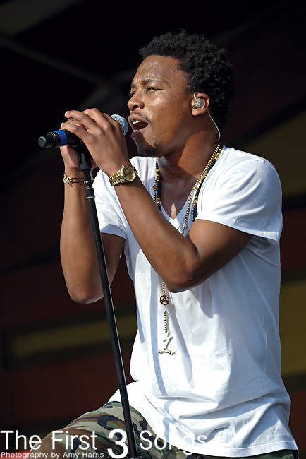 Lupe Fiasco performs during the New Orleans Jazz & Heritage Festival in New Orleans, LA on May 6, 2011.