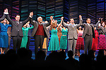 """Brooks Ashmanskas, Dick Latessa, Kristen Chenoweth, Sean Hayes, Tony Goldwyn, Katie Finneran<br />taking a bow on the  Opening Night Broadway performance Curtain Call for """"PROMISES, PROMISES"""" at the Broadway Theatre, New York City.<br />April 25, 2010"""