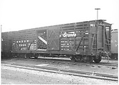 3/4 view of D&amp;RGW stock car #5986 in Montrose yard.  It appears to be loaded with mine timbers.<br /> D&amp;RGW  Montrose, CO  7/1941