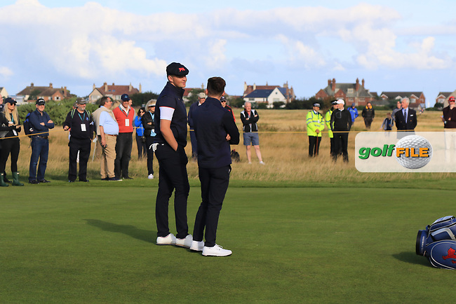Harry Hall (GB&I) and Conor Gough (GB&I) on the 5th during Day 2 Foursomes of the Walker Cup, Royal Liverpool Golf CLub, Hoylake, Cheshire, England. 08/09/2019.<br /> Picture Thos Caffrey / Golffile.ie<br /> <br /> All photo usage must carry mandatory copyright credit (© Golffile | Thos Caffrey)
