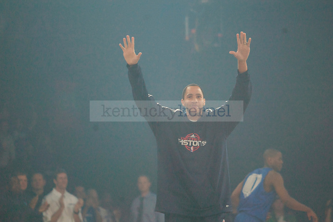 Former UK basketball star Tayshaun Prince walks onto the court during Big Blue Madness on Oct., 16, 2009 in Rupp Arena...Photo by Ed Matthews