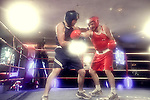 Brian Whelan - Red and Conor Crowley - Blue pictured taking part in the Fundraising Boxing Night in the Armada, Spanish Point on Sunday night.<br /> Pic. Brian Arthur/ Press 22.