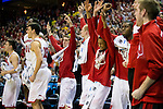 Wisconsin Badgers teammates celebrate Ben Brust (1) school record 228th 3-pointer during the third-round game in the NCAA college basketball tournament against the Oregon Ducks Saturday, April 22, 2014 in Milwaukee. The Badgers won 85-77. (Photo by David Stluka)