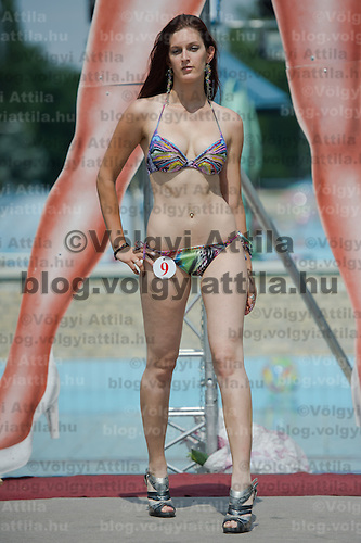 Nikolett Meszaros attends the Miss Bikini Hungary beauty contest held in Budapest, Hungary on August 06, 2011. ATTILA VOLGYI