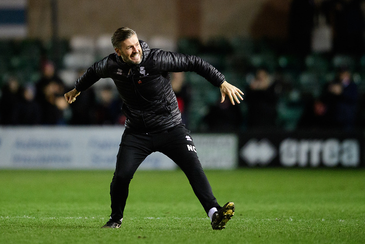 Lincoln City's assistant manager Nicky Cowley celebrates at the end of the game<br /> <br /> Photographer Chris Vaughan/CameraSport<br /> <br /> The EFL Sky Bet League Two - Lincoln City v Newport County - Saturday 22nd December 201 - Sincil Bank - Lincoln<br /> <br /> World Copyright © 2018 CameraSport. All rights reserved. 43 Linden Ave. Countesthorpe. Leicester. England. LE8 5PG - Tel: +44 (0) 116 277 4147 - admin@camerasport.com - www.camerasport.com