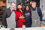 © Joel Goodman - 07973 332324 . . 07/02/2014 .  Manchester , UK . David Neilson (r), who plays Roy Cropper in Coronation Street , serves behind the counter with Labour candidate Mike Kane (l) on the campaign trail at Jackie's Cafe in Northern Moor , joined by two Corrie fans , ahead of the Wythenshawe and Sale East by-election . Photo credit : Joel Goodman