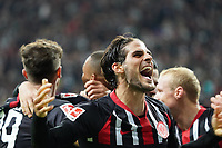celebrate the goal, Torjubel zum 3:0 um Bas Dost (Eintracht Frankfurt) und Goncalo Paciencia (Eintracht Frankfurt) - 18.10.2019: Eintracht Frankfurt vs. Bayer 04 Leverkusen, Commerzbank Arena, <br /> DISCLAIMER: DFL regulations prohibit any use of photographs as image sequences and/or quasi-video.