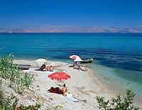 Greece, Corfu, near Benitses: Beach Scene | Griechenland, Korfu, bei Benitses: Strand an der Ostkueste