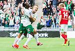 Stockholm 2015-07-13 Fotboll Allsvenskan Hammarby IF - Falkenbergs FF :  <br /> Hammarbys Erik Israelsson firar sitt 2-0 m&aring;l med Amadayia Rennie under matchen mellan Hammarby IF och Falkenbergs FF <br /> (Foto: Kenta J&ouml;nsson) Nyckelord:  Fotboll Allsvenskan Tele2 Arena Hammarby HIF Bajen Falkenberg FFF jubel gl&auml;dje lycka glad happy
