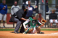 Farmingdale State Rams catcher Kenneth Johntry (7) and an unidentified umpire await the pitch during the first game of a doubleheader against the FDU-Florham Devils on March 15, 2017 at Lake Myrtle Park in Auburndale, Florida.  Farmingdale defeated FDU-Florham 6-3.  (Mike Janes/Four Seam Images)