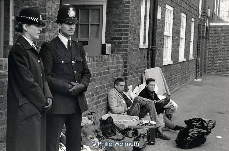 Mass eviction of squatters from Stamford Hill Estate, Hackney, London 1988.