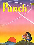 (Mr Punch is painting a watercolour of a magnificent pink and orange sunset is annoyed when a jet plane's contrails disturb the sky)