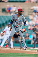 Lehigh Valley IronPigs starting pitcher Enyel De Los Santos (21) looks in for the sign during a game against the Rochester Red Wings on June 30, 2018 at Frontier Field in Rochester, New York.  Lehigh Valley defeated Rochester 6-2.  (Mike Janes/Four Seam Images)