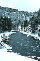 65195-037.03 Gallatin river in winter near Big Sky  MT