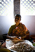 50 year old Rita is single. She has no one to take care of but spends most of her income in buying medicines. She earns Rs 500 (10$) a week and spend Rs. 200 (4$) on medicines every week. She is seen shelling raw cashews with other women in cashew processing factory in Prassala, Kanyakumari district in Tamil Nadu, India.. .An estimated number of 500,000 women process cashews for a living in Tamil Nadu and Kerela. 2 million people are employed by cashew industry across India making it the world's biggest exporter of shelled cashews. .The working conditions in these processing units are way below industry standards and violates the basic rights. Wages are as low as Rs. 50 (US $1) per day. The problems for these women is not restricted to low wages. Many women are being injured by their jobs as the factory owners cut corners with health and safety. Oil released during the cashew shelling process is highly caustic, leading to common cases of dermatitis, blistering and discolouration of workers' skin. Women working in these units suffer from pains in their leg muscles, backs and knee joints after squatting positions on mud or concrete floors. It is very rare to find tables and chairs provided on shelling duty..Cashew workers' main concern is to increase their earnings and provide better working conditions. .Photo: Sanjit Das