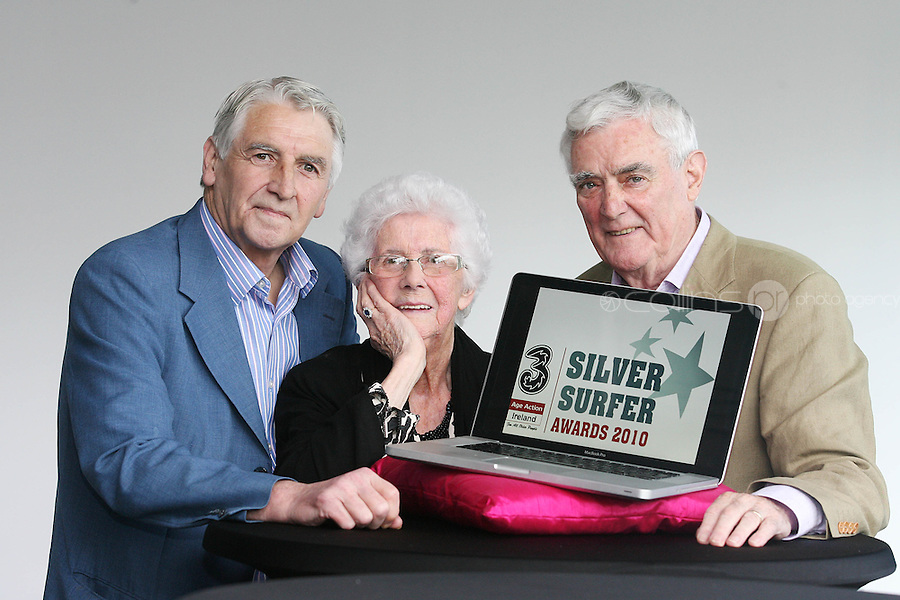 """22/9/2010. Silver Surfer Awards. Fair City actors Jim Bartley (Bela Doyle), Tom Jordan (Charlie Kelly) and 96-year-old Marguerite Faulkner from Tyrone last years award winner are pictured at the Science Gallery Dublin to encouraging all seniors to """"ride the wave"""" of new technologies as they help 3 and Age Action Ireland launch the search for Ireland's biggest """"Silver Surfers"""".Picture James Horan/Collins Photos"""