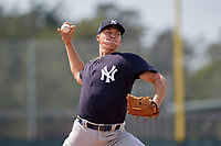 New York Yankees pitcher Glenn Otto (58) delivers a pitch during an Instructional League game against the Pittsburgh Pirates on September 28, 2017 at Pirate City in Bradenton, Florida.  (Mike Janes/Four Seam Images)