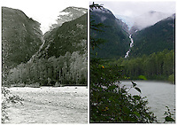 KLGO Photo Station CH-01: Finnegan's Point. View to the west across the Taiya River of Irene Glacier from the Chilkoot Trail at Finnegan's Point, Klondike Gold Rush National Historical Park, Alaska, United States. The left photo was taken September 28, 1971 by Theodore R. Merrell (KLGO Accession #5578). The right photo was taken August 17, 2013 by Ronald D. Karpilo Jr. (Karpilo #20130817_00366).