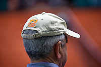Paris, France, 25 June, 2016, Tennis, Roland Garros,  ambiance, man wearing tennis cap<br /> Photo: Henk Koster/tennisimages.com