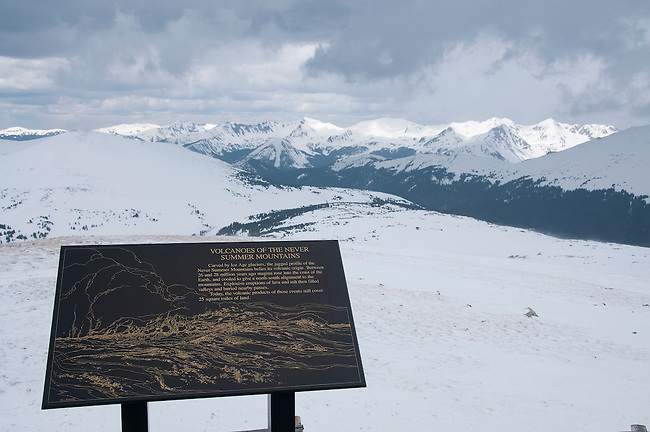 NPS interpretive sign and winter landscape with Never Summer Range from Gore Range overlook, along Trail Ridge Road on opening day for the 2008 season, Rocky Mountain National Park, May, Colorado, USA