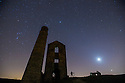 21/02/15  <br /> <br /> An amateur astronomer photographs Mars and Venus as they appear above the horizon (bottom right of frame) over Magpie Mine, an old lead mine near Monyash, in the Derbyshire Peak District. It is the closest conjunction of the two planets since September 11, 2008. They won't couple up this closely again until October 5, 2017<br /> <br /> All Rights Reserved - F Stop Press.  www.fstoppress.com. Tel: +44 (0)1335 418629 +44(0)7765 242650