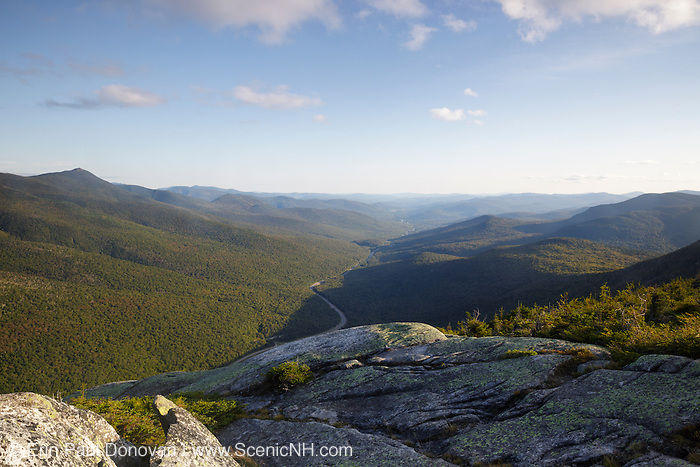 Scenic viewpoint along Kinsman Ridge Trail in Franconia Notch State Park of the New Hampshire White Mountains during the summer months.
