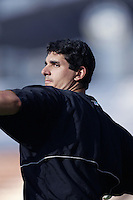 Carl Pavano of the Florida Marlins before a 2002 MLB season game against the Los Angeles Dodgers at Dodger Stadium, in Los Angeles, California. (Larry Goren/Four Seam Images)