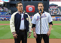 NEW YORK, NY - June 8 :Steven Colbert and Patrick Wilson perform the National Anthem at Citi Field in Flushing, New York prior to the NY Mets-NY Yankees Subway Series game on June 8, 2018 in Flushing, New York.<br /> CAP/MPI/JP<br /> &copy;JP/MPI/Capital Pictures