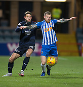 6th February 2019, Dens Park, Dundee, Scotland; Ladbrokes Premiership football, Dundee versus Kilmarnock; Alan Power of Kilmarnock holds off the ball from Andreas Hadenius of Dundee