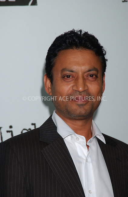 WWW.ACEPIXS.COM . . . . . ....June 13, 2007. New York City.....Actor Irrfan Khan attends the New York premiere of 'A Mighty Heart' held at Ziegfeld Theatre.....In the movie Angelina Jolie plays Mariane Pearl, wife of slain Wall Street Journal reporter Daniel Pearl. Brad Pitt is the producer of the movie. ....Please byline: KRISTIN CALLAHAN - ACEPIXS.COM.. . . . . . ..Ace Pictures, Inc:  ..(646) 769 0430..e-mail: info@acepixs.com..web: http://www.acepixs.com