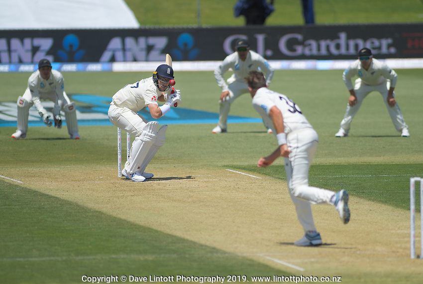 NZ's Tim Southee bowls a bouncer to England's Jack Leach during day two of the international cricket 1st test match between NZ Black Caps and England at Bay Oval in Mount Maunganui, New Zealand on Friday, 22 November 2019. Photo: Dave Lintott / lintottphoto.co.nz