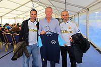 Pictured: Alan Curtis with the Italian designers of the new vintage collection of football tops. Saturday 13 October 2012<br />