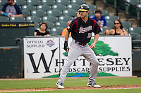 Sacramento River Cats outfielder Josh Reddick (26) takes a lead off of third base during the Pacific Coast League baseball game against the Round Rock Express on June 19, 2014 at the Dell Diamond in Round Rock, Texas. The Express defeated the River Cats 7-1. (Andrew Woolley/Four Seam Images)