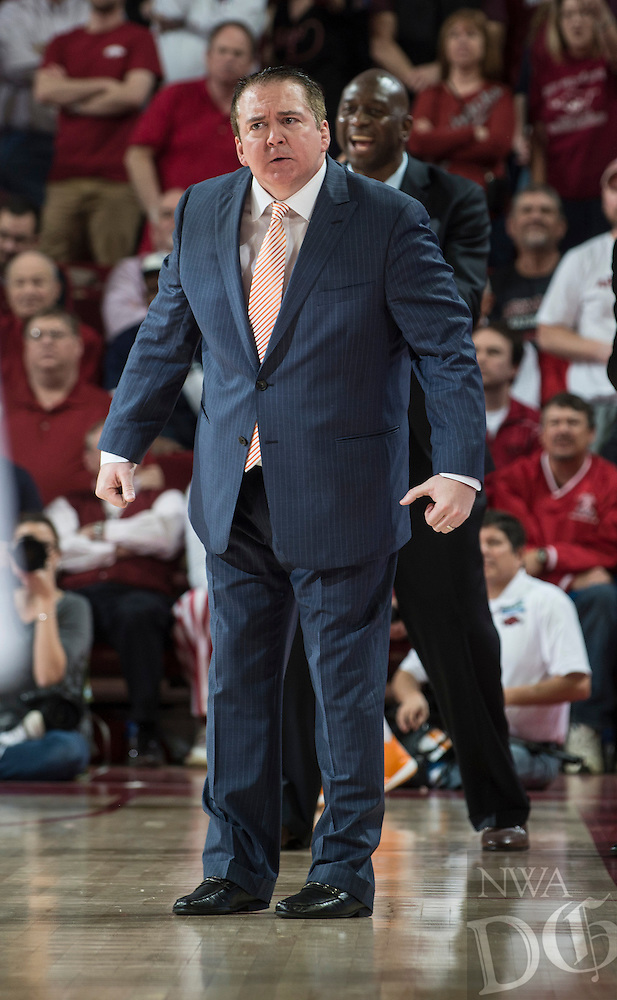 NWA Democrat-Gazette/ANTHONY REYES &bull; @NWATONYR<br /> Donnie Tyndall, Tennessee head coach, reacts to a fould against Arkansas in the second half Tuesday, Jan. 27, 2015 at Bud Walton Arena in Fayetteville. The Razorbacks won 69-64.