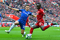 Liverpool's Sadio Mane competes with Chelsea's Cesar Azpilicueta<br /> <br /> Photographer Richard Martin-Roberts/CameraSport<br /> <br /> The Premier League - Liverpool v Chelsea - Sunday 14th April 2019 - Anfield - Liverpool<br /> <br /> World Copyright © 2019 CameraSport. All rights reserved. 43 Linden Ave. Countesthorpe. Leicester. England. LE8 5PG - Tel: +44 (0) 116 277 4147 - admin@camerasport.com - www.camerasport.com