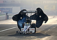 Aug 30, 2014; Clermont, IN, USA; NHRA top fuel dragster driver Morgan Lucas during qualifying for the US Nationals at Lucas Oil Raceway. Mandatory Credit: Mark J. Rebilas-USA TODAY Sports