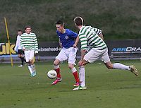 Ben Reilly on the ball in the Celtic v Rangers City of Glasgow Cup Final match played at Firhill Stadium, Glasgow on 29.4.13,  organised by the Glasgow Football Association and sponsored by City Refrigeration Holdings Ltd...