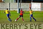 Tralee Dynamos Billy Stack in action against CG Killarney in the Munster Junior Cup, in Cahermoneen on Sunday