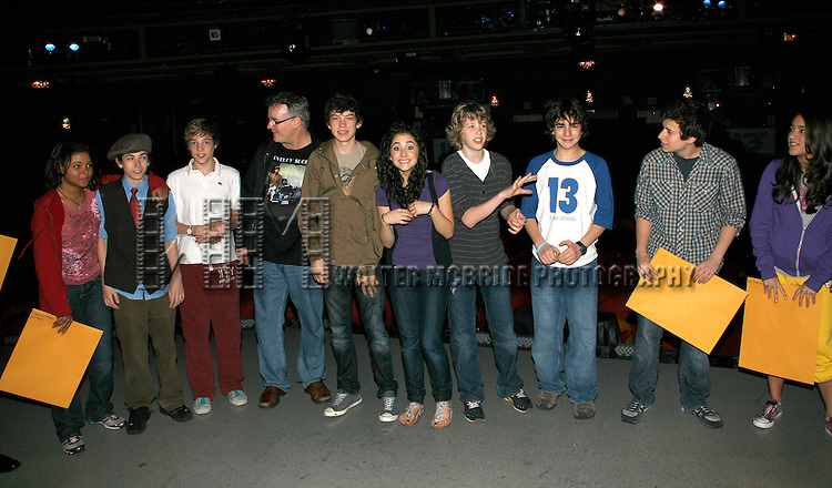 Cast Members featuring: Brynn Williams, Henry Hodges, Riley Costello, Graham Phillips, Ariana Grande, Eamon Foley, Aaron Simon Gross, Zac Coe <br /> attending for the Opening Performance Gypsy Robe Ceremony  for  &quot;13&quot;  at the Bernnard B. Jacobs Theatre in New York City.<br /> October 5, 2008